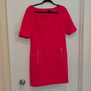 Ann Taylor hot pink sheath dress with pockets